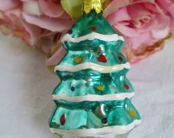 Glass Ornament Vintage Mercury Glass Christmas Tree Hand Blown Glass Ornament  Holiday Ornaments