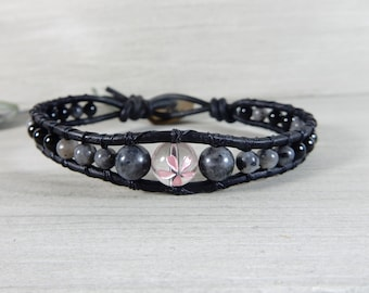 Wishes Bracelet Handmade Leather Wrap Bracelet Flower Crystal Bracelet Gift for Her Healing Crystal Jewelry Japanese Power Stone Bracelet