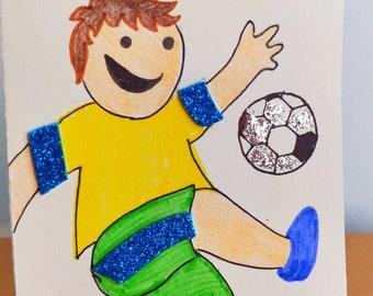 DIY Soccer Make it Yourself Easy Birthday Card Kit for KIDS