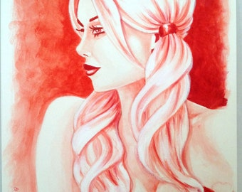 Harley Quinn Monochrome Red Original Painting Watercolor 11x14