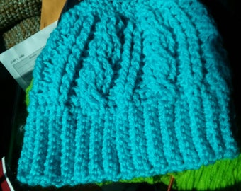 Turquoise blue crochet cable hat