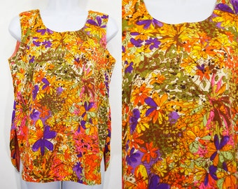 7 DOLLAR SALE---Vintage 60's Colorful Floral Tank Top L