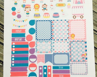Circus Weekly Planner Stickers Set - Erin Condren Stickers - Happy Planner Stickers