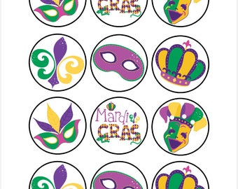 Edible Mardi Gras Themed Cupcake Cookie Toppers