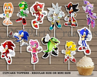Sonic Cupcake Toppers, Die Cuts, Birthday Party Cupcake Toppers
