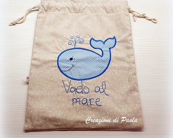 Children's bag for the sea with blue whale