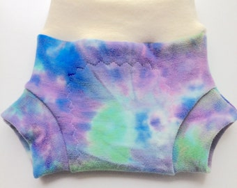 """0-6 months - Wool Diaper Cover - Hand dyed """"Coral Reef"""" Wool Interlock Diaper Soaker - Small"""