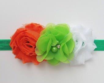St Patty's headband, green headband, handmade headband, St Patrick's day, green baby headband, white and green