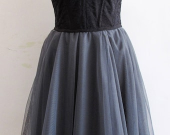 Black lace and tulle dress with sweetheart neckline