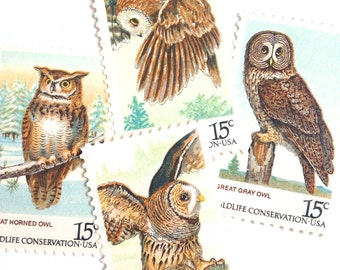 12 Unused Owl Stamps // Vintage Green Pine Tree Owls Postage // Stamps For Mailing