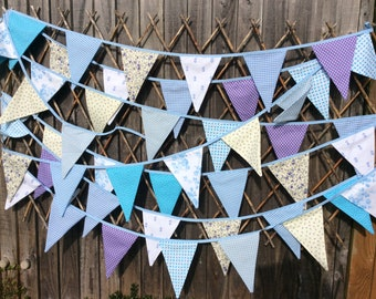 Extra long Bunting in blue, purple and Ivory - 33ft 10m Fabric Garland, blue Wedding Bunting, Birthday, Anniversary, Wedding Decoration