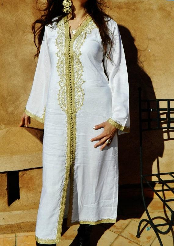 White kaftan Brides Gown Dress White Moroccan Gold Embroidery Lella-bridesmaid robe, moroccan kaftan, beach wedding, bridal shower party