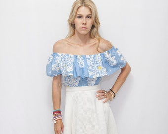 Floral Off the Shoulder Ruffle Top -  Size MEDIUM - Woman Boho Ruffle Top - Boho Top -Blue Floral Boho Top - Off the Shoulder MATILDA Top