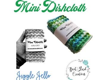 Jiggle Jello Crochet Kitchen Dishcloth, Crochet Mini Cloths, Mini Dishcloths, Ready to Ship