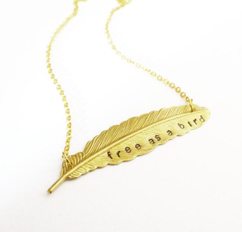 Free as a bird necklace feather charm jewelry gold pendant zoom mozeypictures Gallery