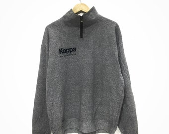 Vintage KAPPA For The Spirit Within Gray Half Zip Neck Sweatshirt Spell Out JAPAN Size L
