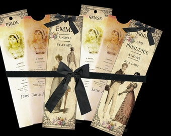 Three Jane Austen bookmarks and envelope digital collage sheet. DIGITAL DOWNLOAD
