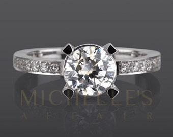 Diamond Promise Ring 1.85 Carat F VS1 Round Cut 14 Karat White Gold Setting Solitaire With Accents Women Ring