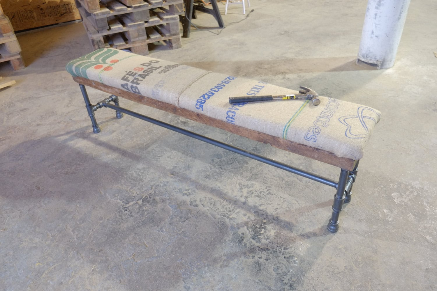 Reclaimed Burlap Coffee Sack Bench On Thick Wooden Plank W