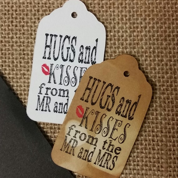 Hugs and Kisses from the Mr and Mrs 100 Wedding Favor Tags