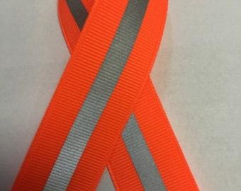 "7/8"" Neon Orange Reflective Glo Grosgrain Ribbon - 1/4"" 3M Silver Reflective Stripe  -100% Polyester / Sports"