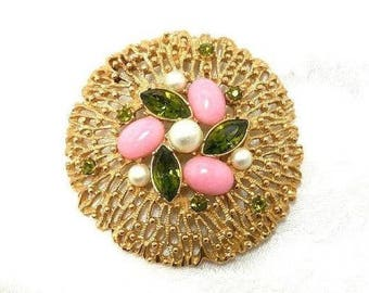 FAN Coral Brooch Vintage Sarah Coventry Fashion Splendor Pearl Filigree Gold Pink Green