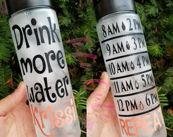 Personalized Drink More Water Motivational Water Bottle, Gym Water Bottle, Fittness Water Bottle, Fun Water Bottle, Water Tracker Bottle