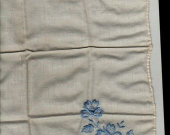 Blue Embroidered Floral Handkerchief + Vintage Linens