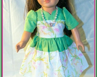 """American made Girl Doll Clothes, Green Spring Dress for American Girl, Madame Alexander, Journey Girls n other 18"""" Dolls"""
