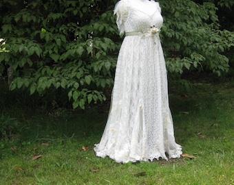 Yellow Daisy Lace Wedding Dress Boho Wedding Dress Hippie