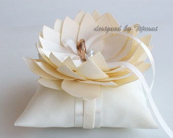 Wedding ring bearer pillow with ivory Lily flower-ring holder, ring pillow-ready to ship