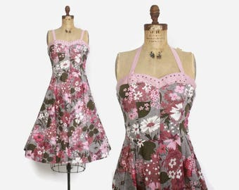 Vintage 50s Floral Sun Dress / 1950s Convertible Halter Rhinestone Trim Full Skirt Dress M