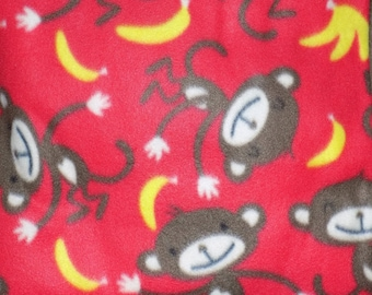 Dog Jammies Red with Monkeys and Bananas fleece