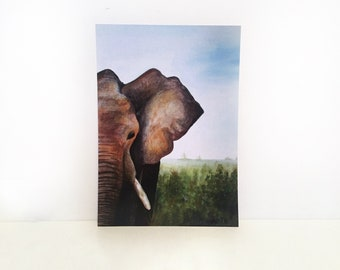A4 Print, Elephant Watercolour Painting
