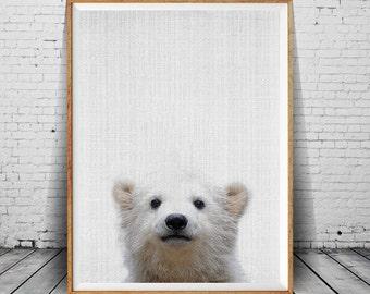 Baby Bear Print, Animal Print, Animal Print Nursery,  Bear Wall Art Decor, Nursery Animal Prints, Black White Animal, Animal Art Photography