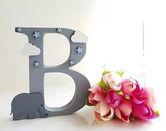 15cm wooden initial hand decorated elephant sheep lamb animal clouds stars nursery kids room bedroom decor decoration ornament letter name