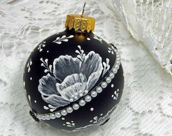 Black and White Painted Ornament. Mud Ornament. Painted Ornament. Hand Painted Ornament.