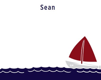 Personalized Sailboat Notecards