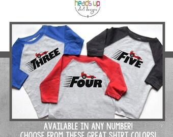1,2,3,4,5 Racecar Birthday Shirt Boy/Girl - One/Two/Three/Four/Five Birthday Raglan Boy/Girl Toddler - Race Car Party - Birthday Tee Trendy