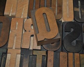 Letter Q Vintage Wood Letterpress   Capital Letter Q  Antique Letterpress Block 2.5 Inches Tall
