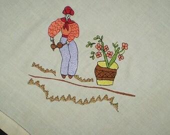 """Vintage 50s Calypso Souvenir Tablecloth Embroidered 54"""" x 63"""""""