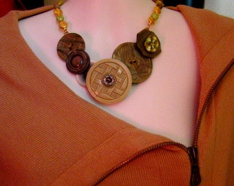 Moss Antique Button Necklace
