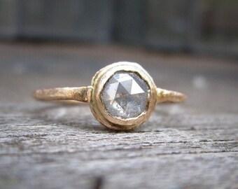 Rose Cut Diamond ring, Rustic Unique Diamond Engangement Ring, Half Carat Diamond Ring