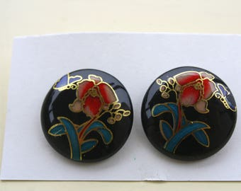 Vintage Cloisonne Orchid and Butterfly Earrings | Clip Ons | Costume Jewelry / Clip On Earrings | Collectible Gift Idea | Butterflies
