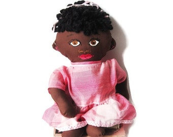 African or African American Girl Baby Rag Doll- New Baby Gift With 2 Outfits