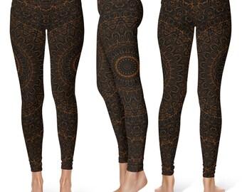 Chocolate Brown Yoga Pants, Black Leggings with Brown Mandala Designs for Women, Printed Leggings, Pattern Yoga Tights