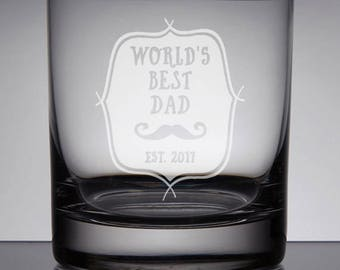 Dad Whiskey Glass, Best Dad Rocks Glass, New Dad Gift, Sandblasted Glass, Custom Dad Gift, Engraved Whiskey Glass, Etched Bourbon Glass