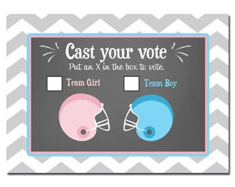 Football Gender Reveal Voting Cards Printable -  Pink or Blue Football Collection