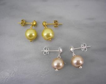 Pearl Earrings, Coloured Pearl Earrings, 8mm Pearl Drop Earrings, Simple Pearl Earrings, Silver Stud Earrings, Gold Stud Earrings, 418S