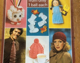 Vintage Knitting -  One Ball Book  6 designs from only one ball each